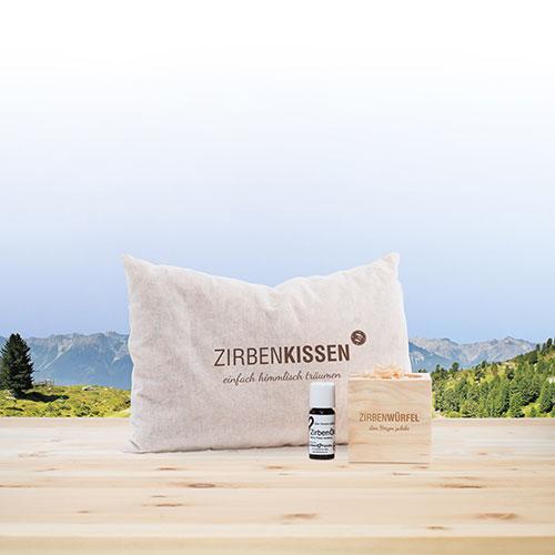 Goede Nacht Set ZirbenWürfel en ZirbenKussen - ZirbenFamilie